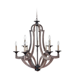 Winton Weathered Pine and Bronze Nine-Light 30-Inch Chandelier