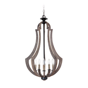 Winton Weathered Pine and Bronze Five-Light 19-Inch Chandelier