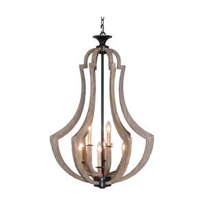 Winton Weathered Pine and Bronze Nine-Light 24-Inch Chandelier