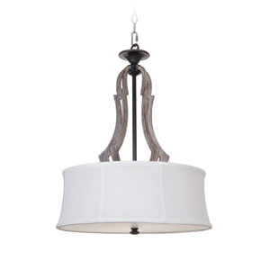 Winton Weathered Pine and Bronze Three-Light Pendant with White Linen fabric Shade