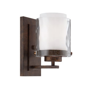 Kenswick Peruvian Bronze One-Light Bath Sconce with Hammered Glass Shade