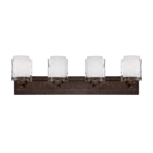 Kenswick Peruvian Bronze Four-Light Vanity with Hammered Glass Shade