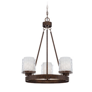 Kenswick Peruvian Bronze Three-Light Chandelier with Hammered Glass Shade
