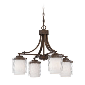 Kenswick Peruvian Bronze Four-Light Chandelier with Hammered Glass Shade