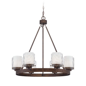 Kenswick Peruvian Bronze Six-Light Chandelier with Hammered Glass Shade