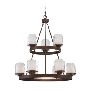 Kenswick Peruvian Bronze Nine-Light Chandelier with Hammered Glass Shade
