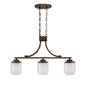 Kenswick Peruvian Bronze Three-Light Island Pendant with Hammered Glass Shade