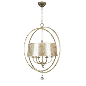 Windsor Athenian Obol Six-Light Chandelier with Silver Mica Shade