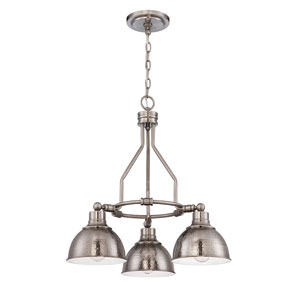 Timarron Antique Nickel Three-Light Chandelier with Hammered Metal Shade