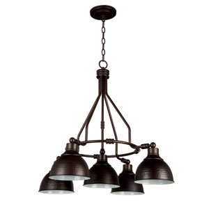 Timarron Aged Bronze Five-Light Chandelier with Hammered Metal Shade