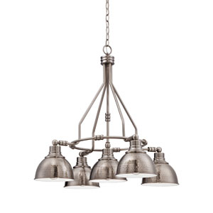 Timarron Antique Nickel Five-Light Chandelier with Hammered Metal Shade