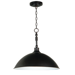 Timarron Aged Bronze One-Light Pendant with Hammered Metal Shade