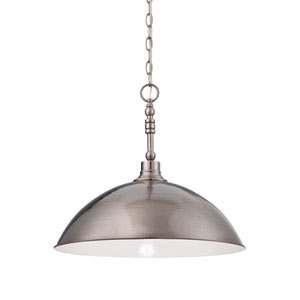 Timarron Antique Nickel One-Light Pendant with Hammered Metal Shade