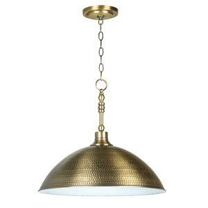 Timarron Legacy Brass One-Light Pendant with Hammered Metal Shade