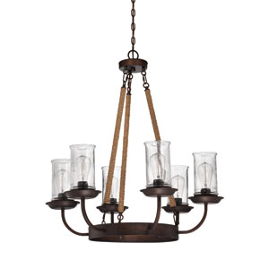 Thornton Aged Bronze Six-Light Chandelier with Antique Clear Glass Shade