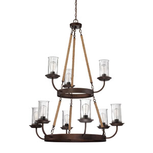 Thornton Aged Bronze Nine-Light Chandelier with Antique Clear Glass Shade