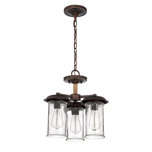 Thornton Aged Bronze Three-Light Semi-Flush Mount with Antique Clear Glass Shade