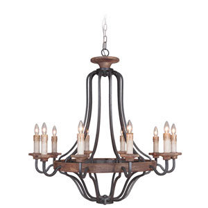 Ashwood Textured Black and Whiskey Barrel 10-Light Chandelier