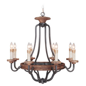 Ashwood Textured Black and Whiskey Barrel Eight-Light Chandelier