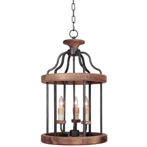 Ashwood Textured Black and Whiskey Barrel Three-Light Foyer Pendant