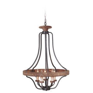 Ashwood Textured Black and Whiskey Barrel Five-Light Pendant