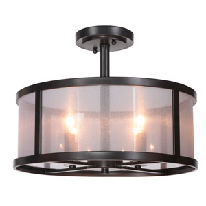 Danbury Matte Black Four-Light Semi Flush