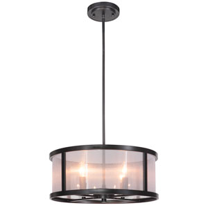Danbury Matte Black Four-Light Drum Pendant