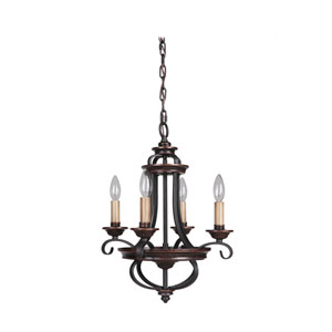 Stafford Aged Bronze Four-Light Chandelier