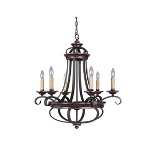 Stafford Aged Bronze Six-Light 26-Inch Chandelier