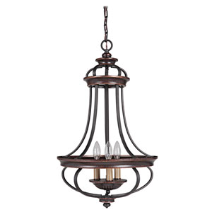 Stafford Aged Bronze Three-Light Chandelier