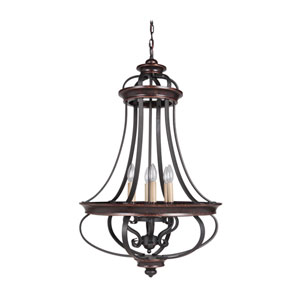 Stafford Aged Bronze Six-Light 23-Inch Chandelier