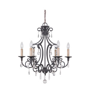 Bentley Matte Black Six-Light Chandelier