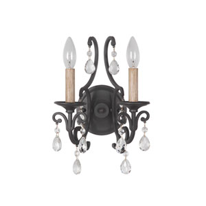Bentley Matte Black Two-Light Wall Sconce