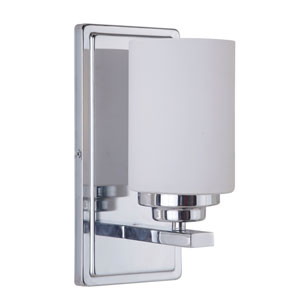 Albany Chrome One-Light Bath Sconce with White Frosted Glass Shade