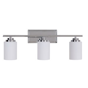 Albany Chrome Three-Light Vanity with White Frosted Glass Shade
