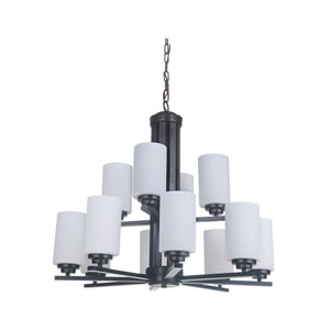 Albany Oiled Bronze 12-Light Chandelier with White Frosted Glass Shade