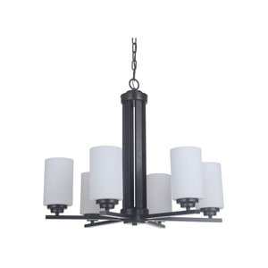 Albany Oiled Bronze Six-Light Chandelier with White Frosted Glass Shade