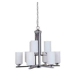 Albany Chrome Nine-Light Chandelier with White Frosted Glass Shade