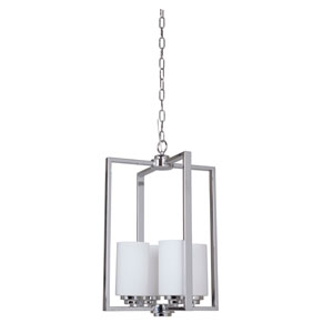 Albany Chrome Four-Light Chandelier with White Frosted Glass Shade