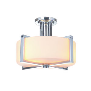 Albany Chrome Three-Light Semi-Flush Mount with White Frosted Glass Shade