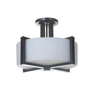 Albany Oiled Bronze Three-Light Semi-Flush Mount with White Frosted Glass Shade