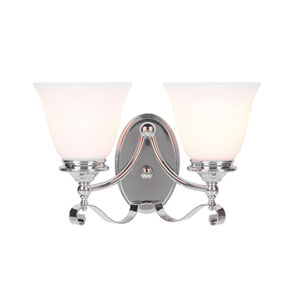 Chelsea Chrome Two-Light Vanity with White Frosted Glass Shade