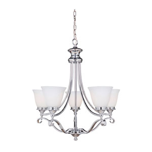 Chelsea Chrome Five-Light Chandelier with White Frosted Glass Shade