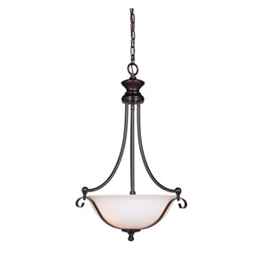Chelsea Oil Bronze Gilded Three-Light Pendant with White Frosted Glass Shade