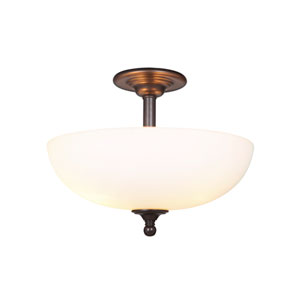 Brighton Espresso Three-Light Semi-Flush Mount with White Frosted Glass Shade