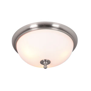 Brighton Brushed Nickel Three-Light Flush Mount with White Frosted Glass Shade