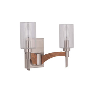 Tahoe Brushed Nickel Two-Light Vanity with Clear Seeded Glass Shade