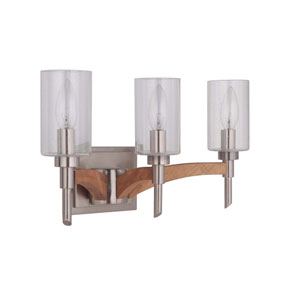 Tahoe Brushed Nickel Three-Light Vanity with Clear Seeded Glass Shade