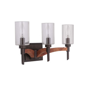 Tahoe Espresso Three-Light Vanity with Clear Seeded Glass Shade