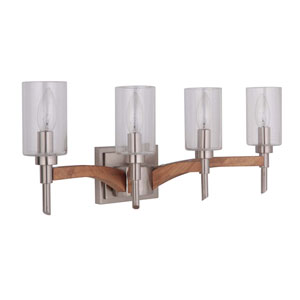 Tahoe Brushed Nickel Four-Light Vanity with Clear Seeded Glass Shade